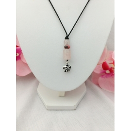 Collier quartz rose et...