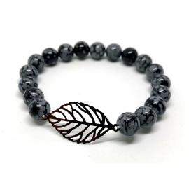 Bracelet obsidienne flocon...