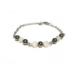 Bracelet pyrite et pierre...