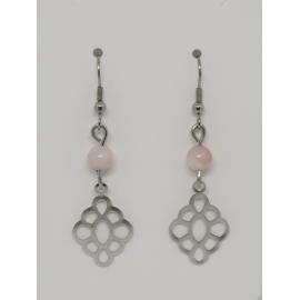 Boucle d'oreille opale rose